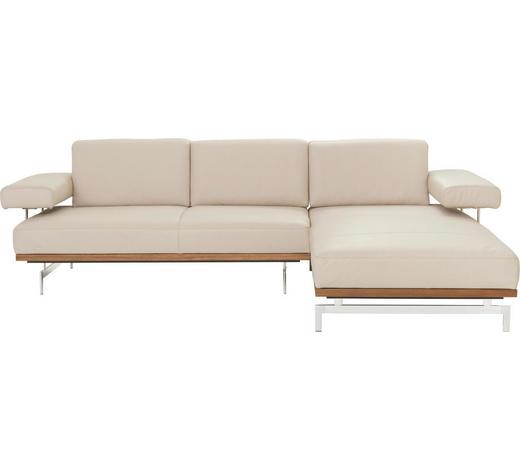 WOHNLANDSCHAFT in Leder Beige - Beige/Alufarben, Design, Leder/Metall (295/237cm) - Joop!
