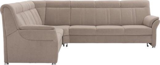 WOHNLANDSCHAFT beflockt, Velours - Beige/Silberfarben, KONVENTIONELL, Textil/Metall (248/306cm) - Beldomo Comfort