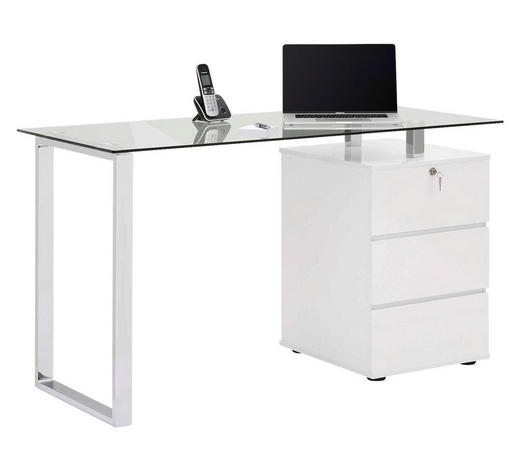 SCHREIBTISCH Weiß, Chromfarben  - Chromfarben/Weiß, Design, Glas/Metall (130/75/60cm)