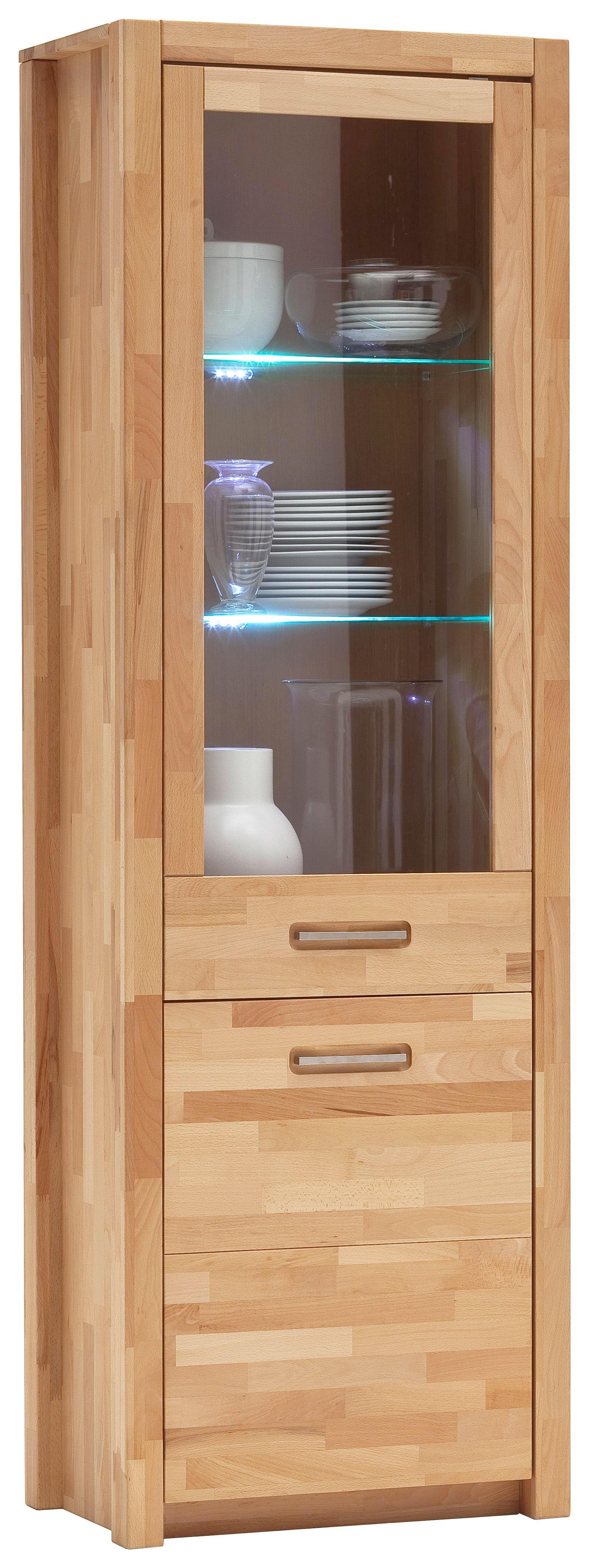 VITRINE Kernbuche massiv Buchefarben - Buchefarben/Alufarben, Design, Glas/Holz (66/203/40cm) - LANDSCAPE