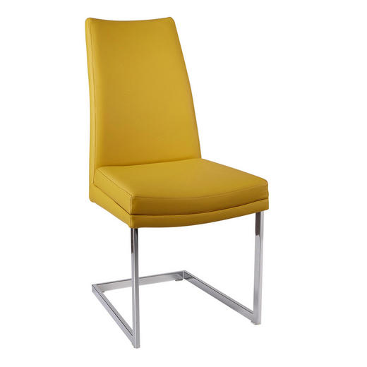 SCHWINGSTUHL Echtleder Chromfarben, Dunkelgelb - Chromfarben/Dunkelgelb, Design, Leder/Metall (48/98/53cm) - Valdera