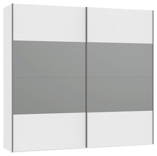 SCHWEBETÜRENSCHRANK 2-türig Weiß - Silberfarben/Weiß, Design, Glas/Holzwerkstoff (252,8/236/65cm) - Jutzler