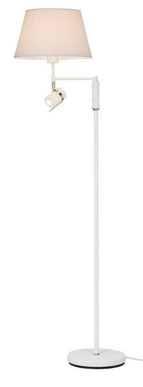 GOLVLAMPA - vit/kromfärg, Design, metall/textil (1320cm)