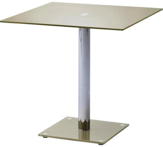 ESSTISCH in Metall, Glas 80/80/76 cm - Taupe/Chromfarben, Basics, Glas/Metall (80/80/76cm) - Carryhome