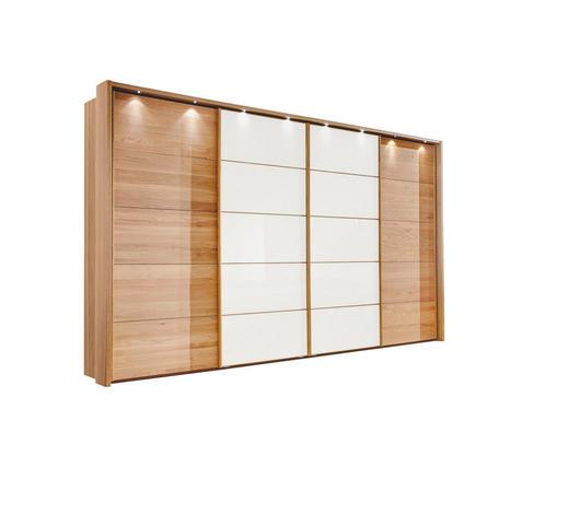 SCHWEBETÜRENSCHRANK 4-türig Eiche furniert, teilmassiv Weiß, Eichefarben - Eichefarben/Weiß, Design, Glas/Holz (400/236/67cm) - Linea Natura