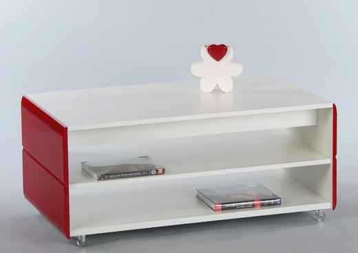COUCHTISCH rechteckig Rot, Weiß - Rot/Weiß, Design (109/60/41cm) - Carryhome