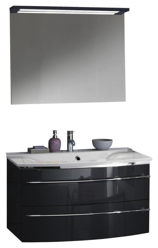 BADEZIMMER Anthrazit - Anthrazit/Weiß, Design, Stein (92,4cm) - Welnova