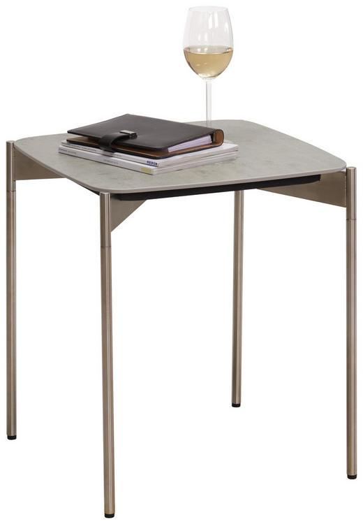 BEISTELLTISCH quadratisch Edelstahlfarben, Grau - Edelstahlfarben/Grau, Design, Keramik/Metall (43/43/49cm) - Venjakob