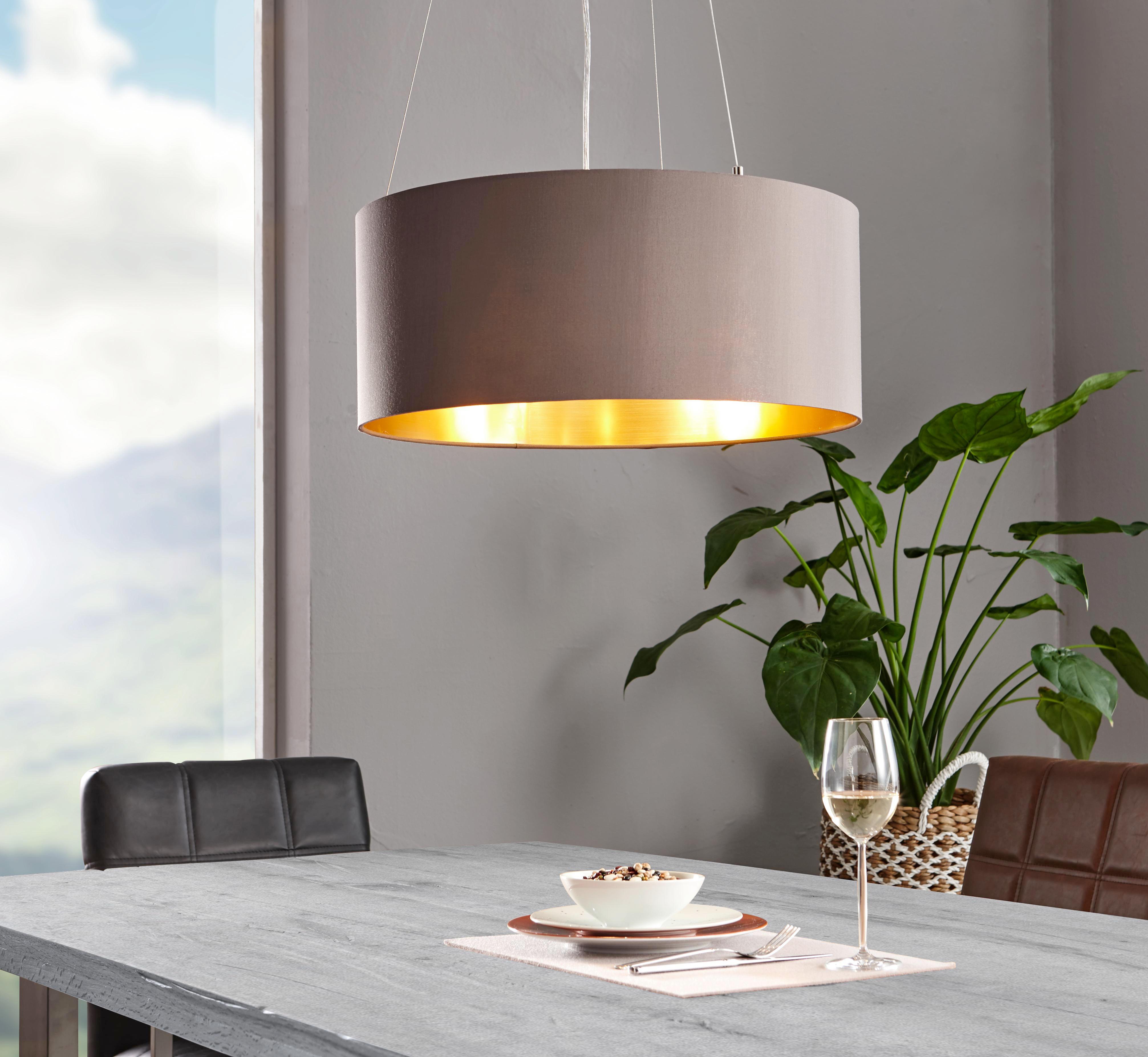 HÄNGELEUCHTE - Goldfarben/Braun, LIFESTYLE, Textil/Metall (53/110cm)