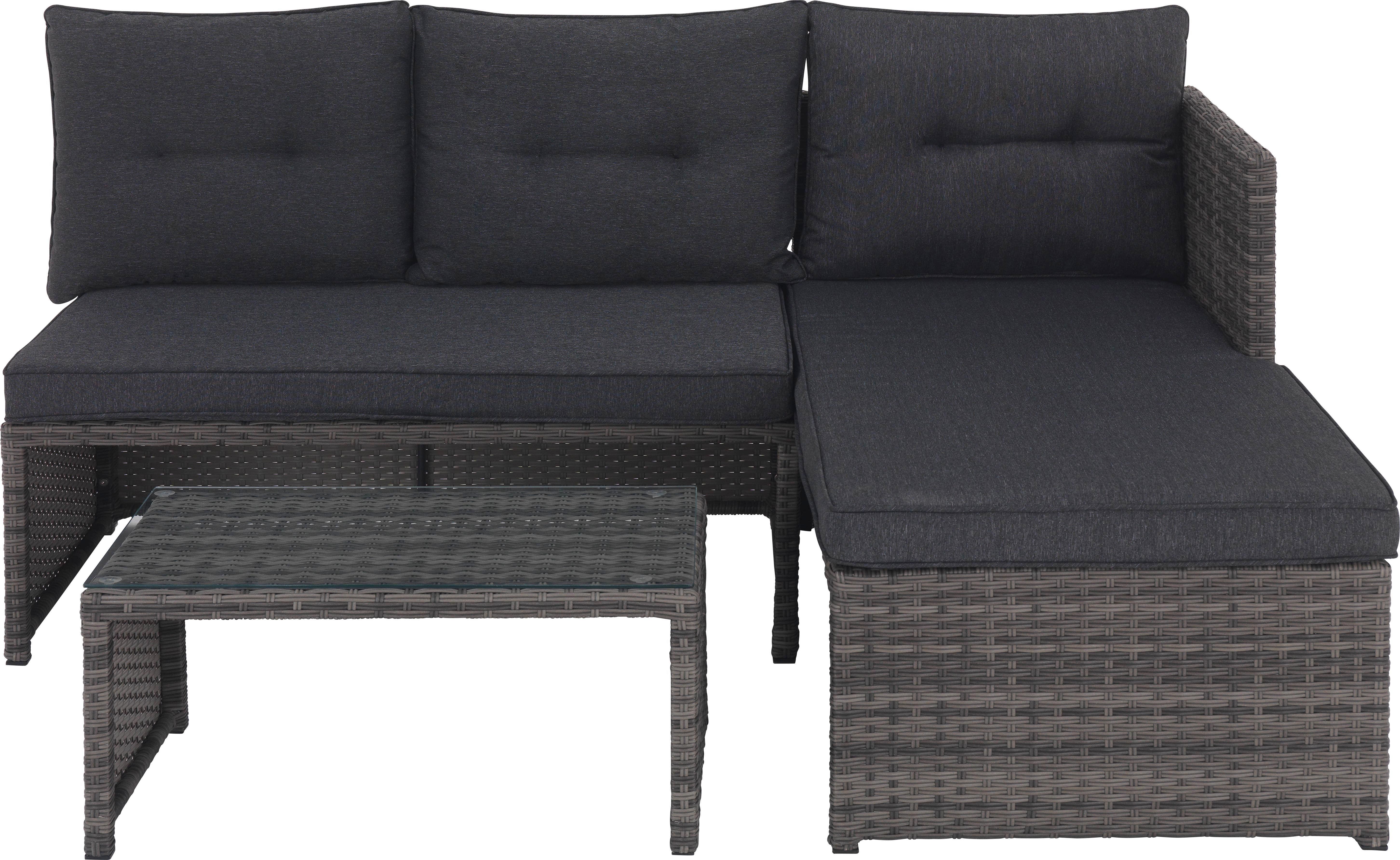 LOUNGEGARNITUR 7-teilig  173/120 cm - Grau, Design, Glas/Kunststoff (173/120cm) - Xora