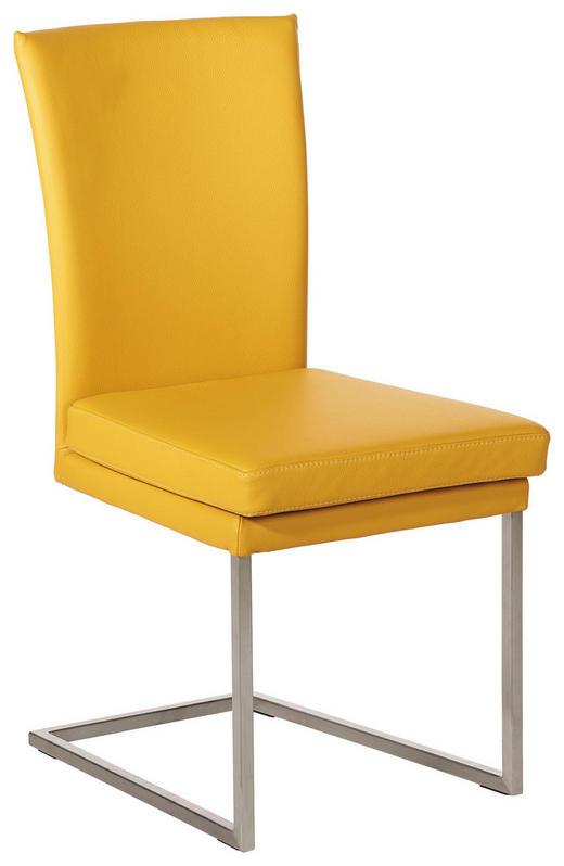 SCHWINGSTUHL Echtleder Gelb, Edelstahlfarben - Edelstahlfarben/Gelb, Design, Leder/Metall (47/95/57cm) - Musterring