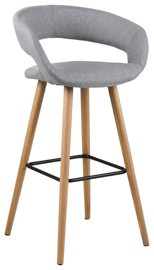 BARHOCKER Flachgewebe Hellgrau - Eichefarben/Hellgrau, Design, Holz/Textil (55/98/46,5cm) - Carryhome
