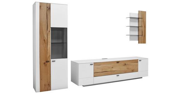 WOHNWAND in Weiß, Eichefarben  - Eichefarben/Anthrazit, Design, Glas/Holz (317/196,8/49,2cm) - Dieter Knoll