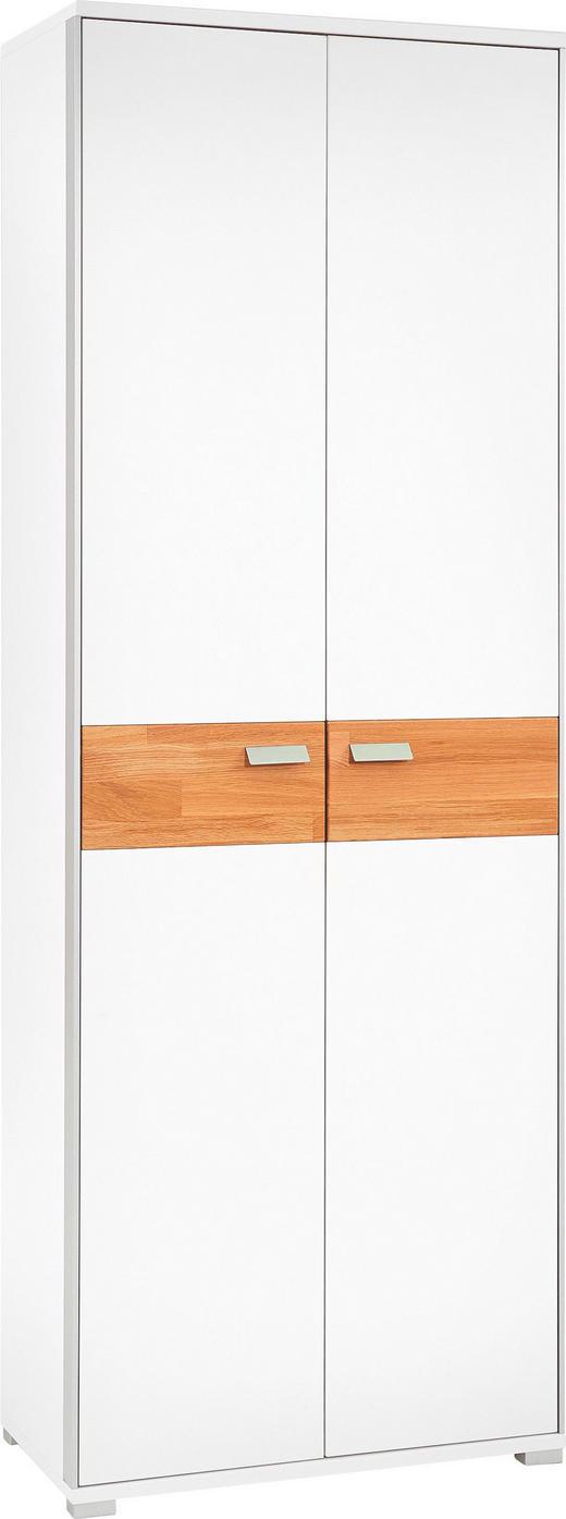 GARDEROBENSCHRANK Eiche massiv gebürstet, lackiert, matt Eichefarben, Weiß - Chromfarben/Eichefarben, Design, Holz/Holzwerkstoff (70/193/37cm)