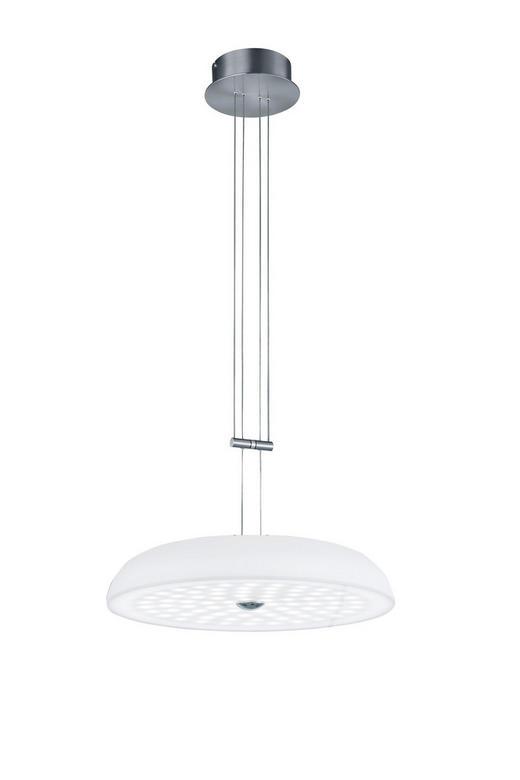 LED-HÄNGELEUCHTE - Weiß/Nickelfarben, MODERN, Glas/Metall (43/150cm) - Bankamp