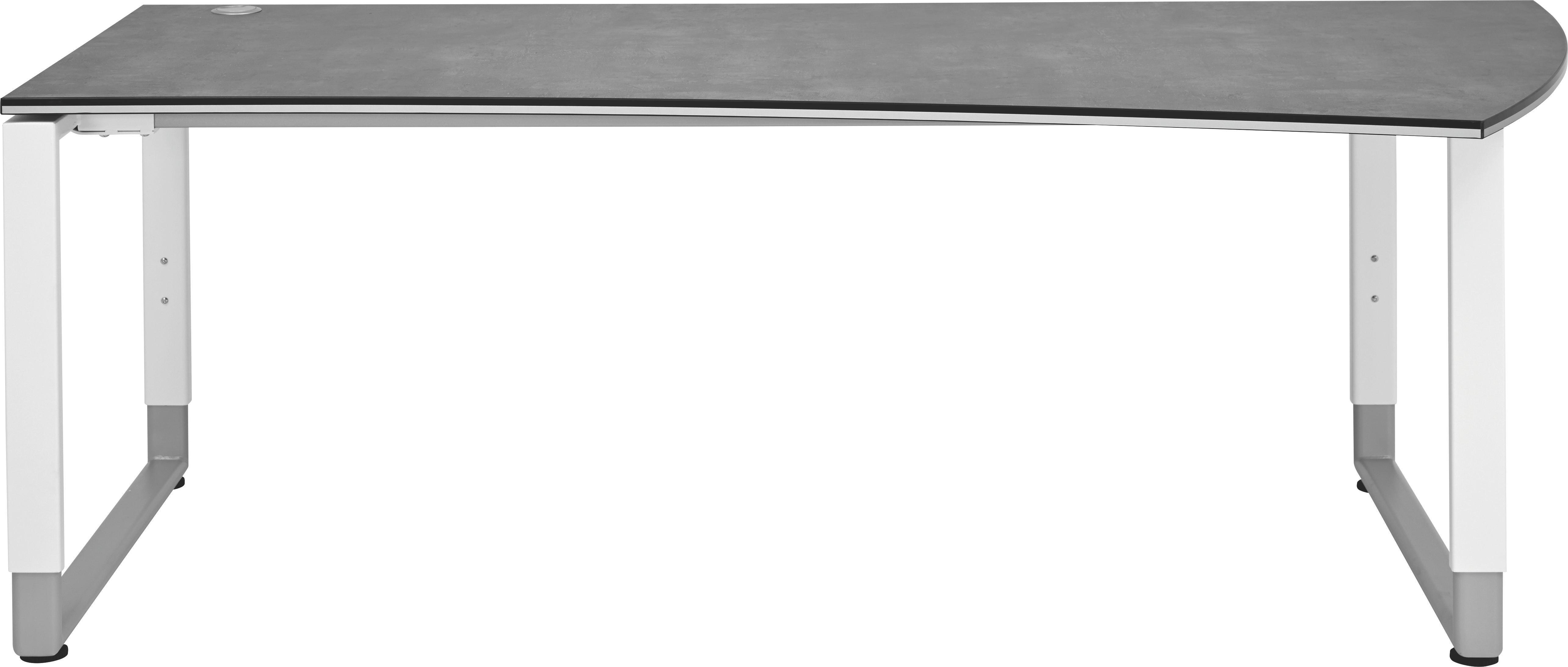 SCHREIBTISCH Grau, Weiß - Weiß/Grau, Basics, Metall (200/68-82/80/100cm) - MODERANO