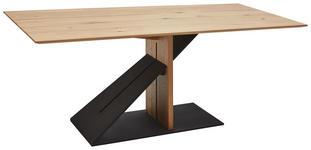 ESSTISCH in Holz 200/100/76 cm   - Eichefarben/Schwarz, Design, Holz/Metall (200/100/76cm) - Ambiente
