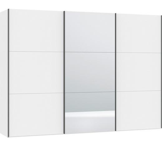 SCHWEBETÜRENSCHRANK in Weiß - Silberfarben/Weiß, Design, Glas/Holzwerkstoff (303,1/220/65cm) - Jutzler
