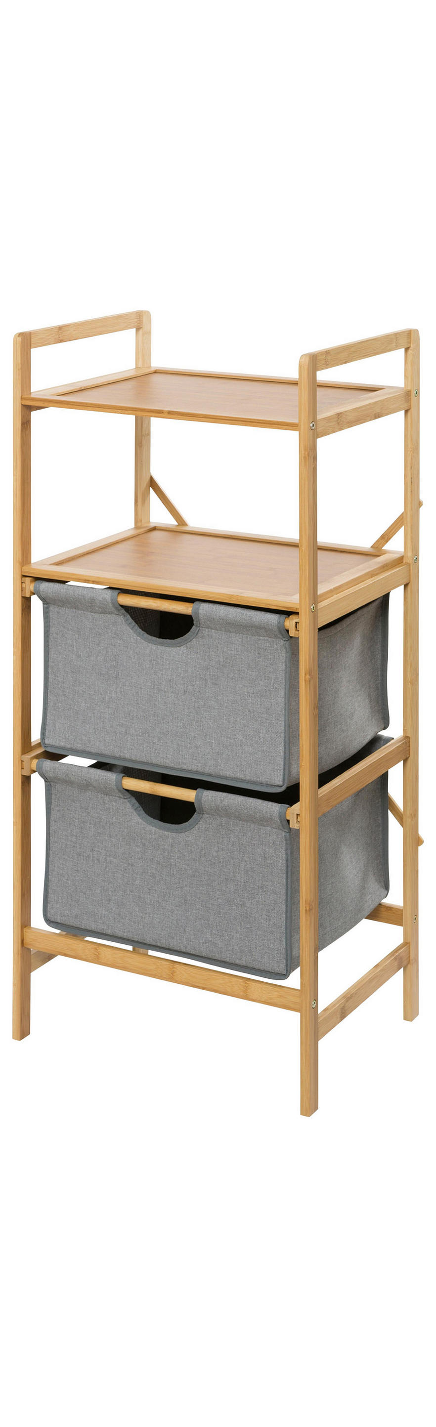 BADEZIMMERREGAL Holz, Textil Bambus Braun, Grau