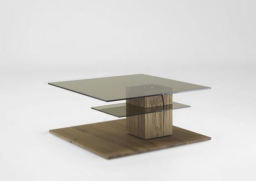 COUCHTISCH Kerneiche vollmassiv quadratisch Eichefarben - Eichefarben, Design, Glas/Holz (95/95/45cm) - Valnatura