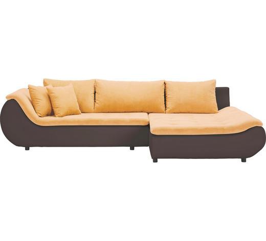 WOHNLANDSCHAFT in Textil Braun, Gelb - Gelb/Schwarz, Design, Kunststoff/Textil (310/185cm) - Carryhome