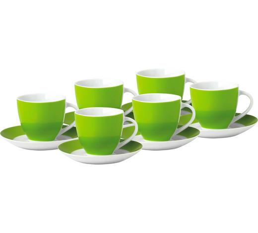 TASSENSET 6-teilig Keramik Porzellan Grün, Weiß  - Weiß/Grün, Basics, Keramik (10,5/7,3/8cm)