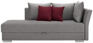 LIEGE in Textil Rot, Hellgrau - Chromfarben/Rot, Design, Kunststoff/Textil (220/93/100cm) - Xora