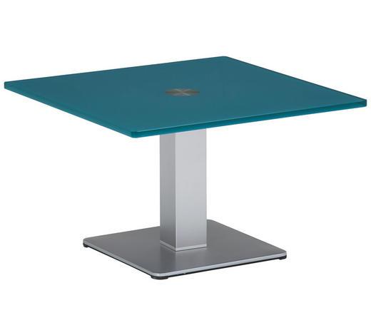 BEISTELLTISCH in Glas, Holzwerkstoff 60/60/37,5 cm - Blau/Silberfarben, KONVENTIONELL, Glas/Holzwerkstoff (60/60/37,5cm)
