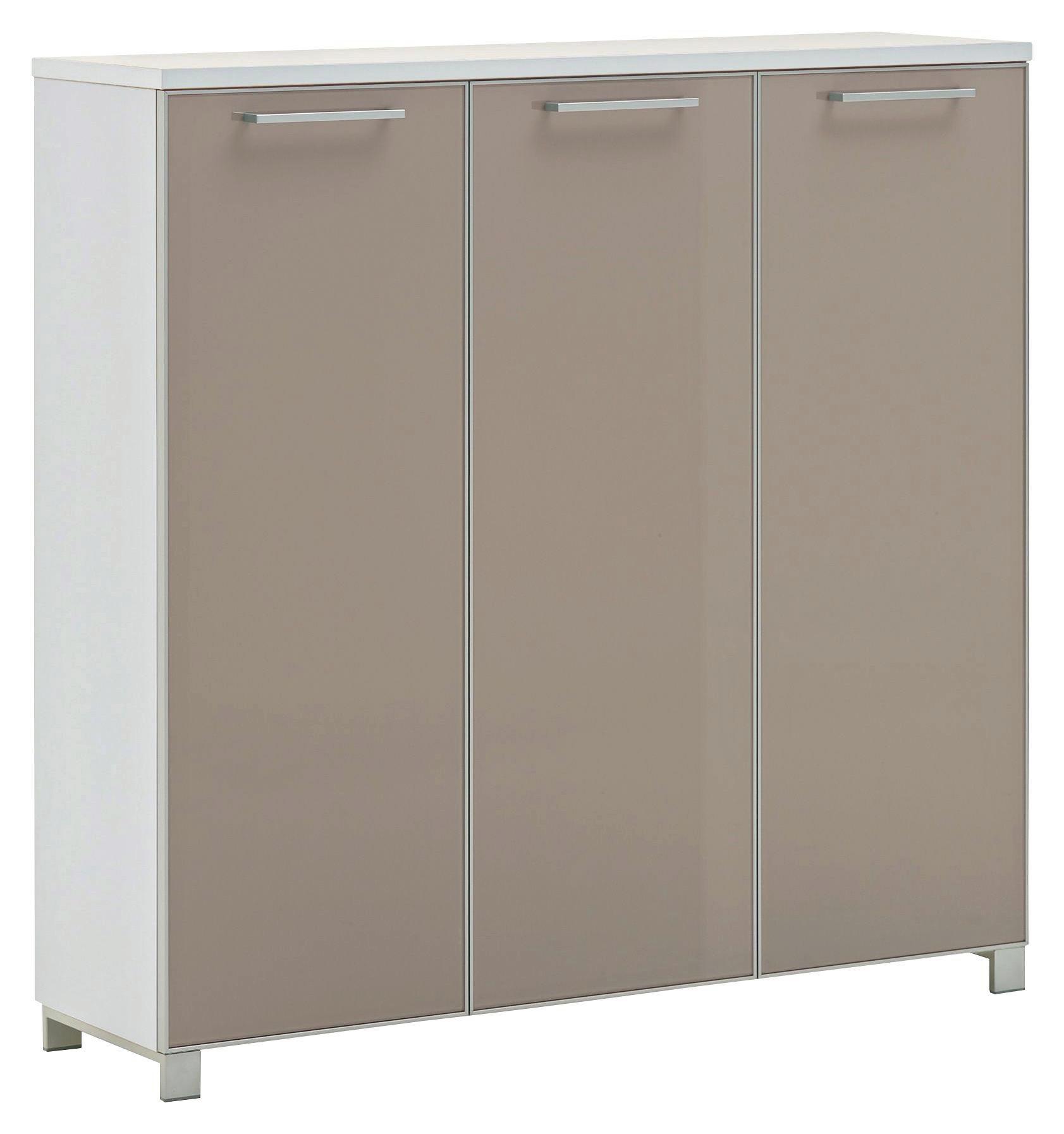 SCHUHSCHRANK Lackiert Taupe, Weiß   Taupe/Chromfarben, Design,  Glas/Holzwerkstoff (