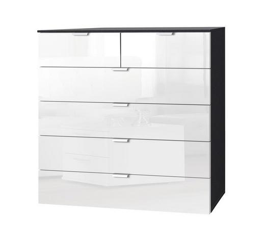 KOMMODE Graphitfarben, Weiß  - Graphitfarben/Alufarben, KONVENTIONELL, Glas/Metall (100/100/42cm) - Carryhome