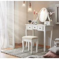 STOL ZA ŠMINKANJE - bijela/antracit, Lifestyle, staklo/drvni materijal (81/128,5/41cm) - Landscape
