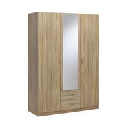 OMARA ZA OBLAČILA, hrast sonoma - hrast sonoma/srebrna, Design, umetna masa/leseni material (136/197/54cm) - Boxxx