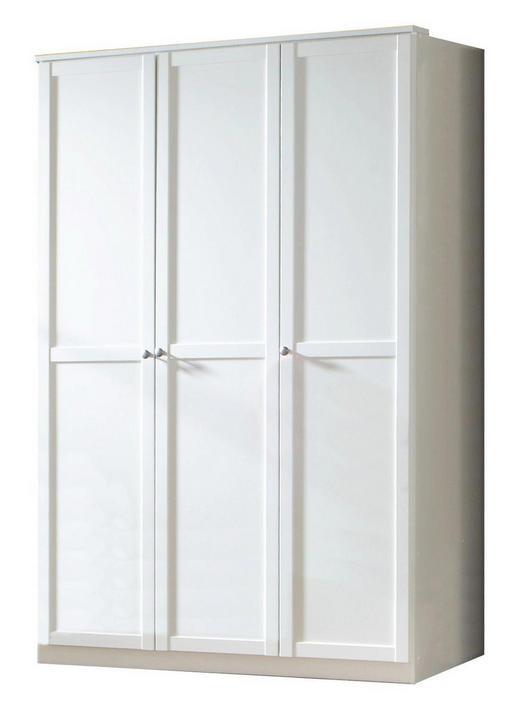 DREHTÜRENSCHRANK Weiß - Zinkfarben/Weiß, LIFESTYLE, Holzwerkstoff/Metall (135/198/58cm) - Carryhome