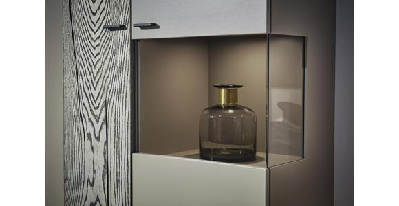 WOHNWAND in Fango, Grau - Fango/Edelstahlfarben, MODERN, Glas/Holz (339,5/195,4/41,2cm) - Dieter Knoll