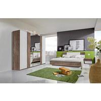SPALNICA, bela, hrast  - bela/hrast, Design, steklo/leseni material (180/200cm) - Carryhome