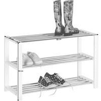 REGÁL NA BOTY - bílá/barvy chromu, Design, kov/kompozitní dřevo (80/50/30cm) - Carryhome