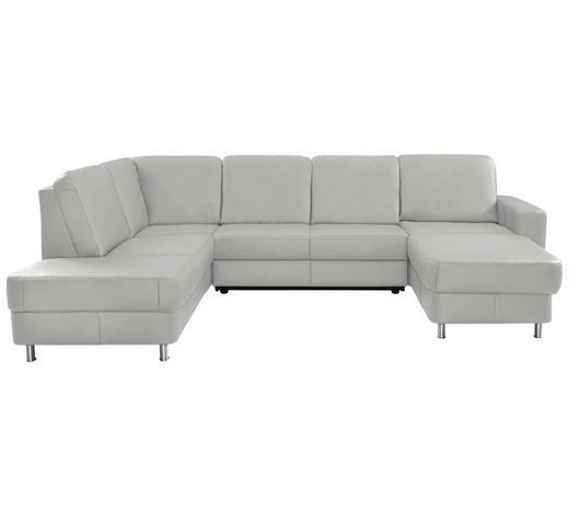 WOHNLANDSCHAFT in Leder Weiß - Chromfarben/Weiß, Design, Leder/Kunststoff (198/301/167cm) - Xora