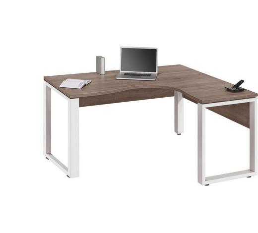 ECKSCHREIBTISCH Weiß, Trüffeleichefarben  - Trüffeleichefarben/Weiß, Design, Metall (160/75,6/140cm) - Voleo