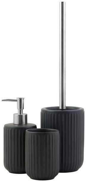 TOALETTBORSTSET - svart, Klassisk, plast/keramik