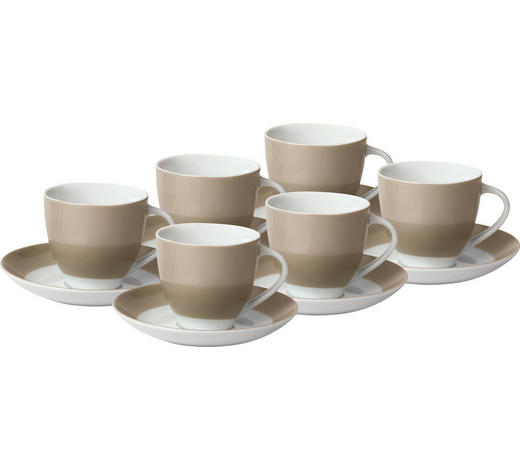 TASSENSET 6-teilig Keramik Porzellan Weiß, Taupe  - Taupe/Weiß, Basics, Keramik (24,5/16,5/9,5cm)