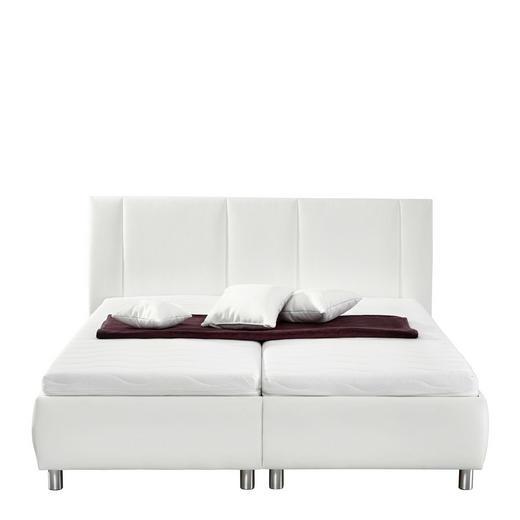 POLSTERBETT Lederlook 200/200 cm - Alufarben/Weiß, Design, Holz/Textil (200/200cm) - Carryhome