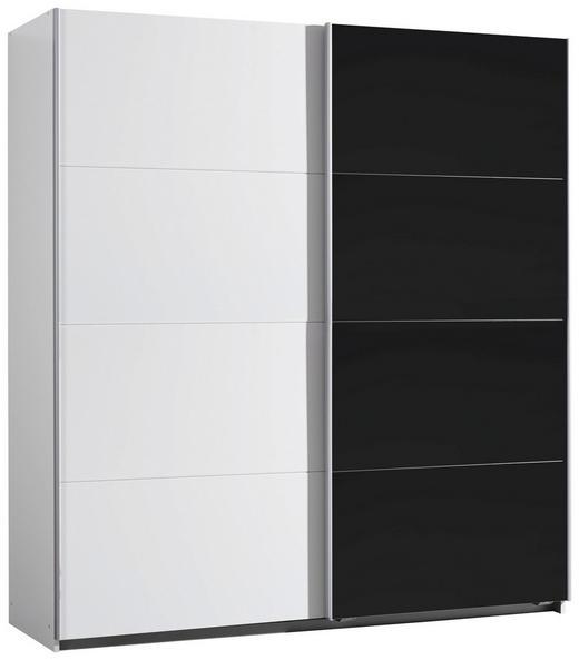 SCHWEBETÜRENSCHRANK 2-türig Schwarz, Weiß - Schwarz/Alufarben, KONVENTIONELL, Glas/Holzwerkstoff (181/197/61cm) - Xora