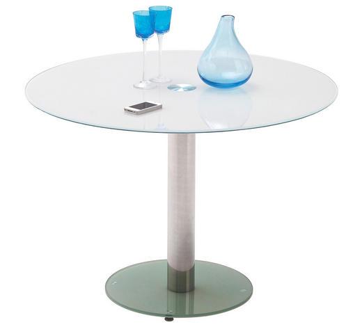 ESSTISCH rund Weiß, Chromfarben - Chromfarben/Weiß, Design, Glas/Metall (100/77cm) - Carryhome