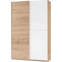 MEHRZWECKSCHRANK matt Eichefarben, Weiß - Eichefarben/Alufarben, Design, Holzwerkstoff/Kunststoff (125/196/38cm) - CARRYHOME