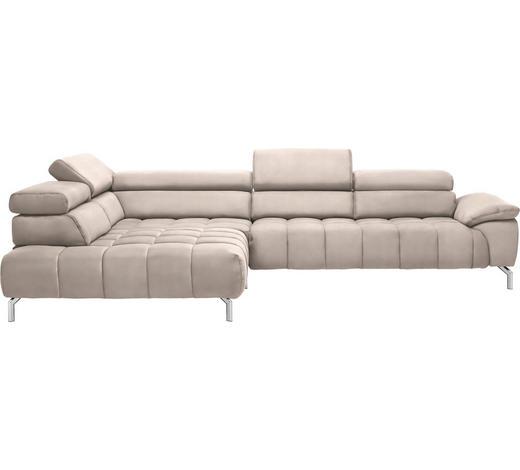 WOHNLANDSCHAFT in Textil Creme, Naturfarben - Chromfarben/Creme, Design, Textil/Metall (222/323cm) - Beldomo Style