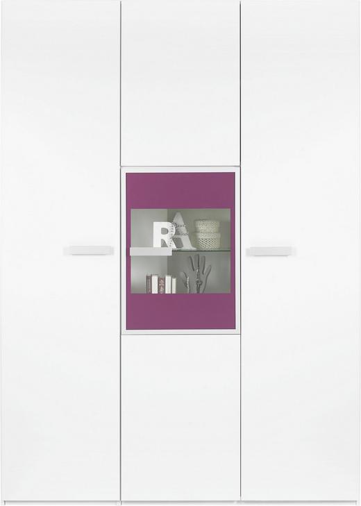 KLEIDERSCHRANK 5  -türig Lila, Weiß - Lila/Alufarben, Design, Glas/Holzwerkstoff (151,3/213,6/59,3cm) - XORA