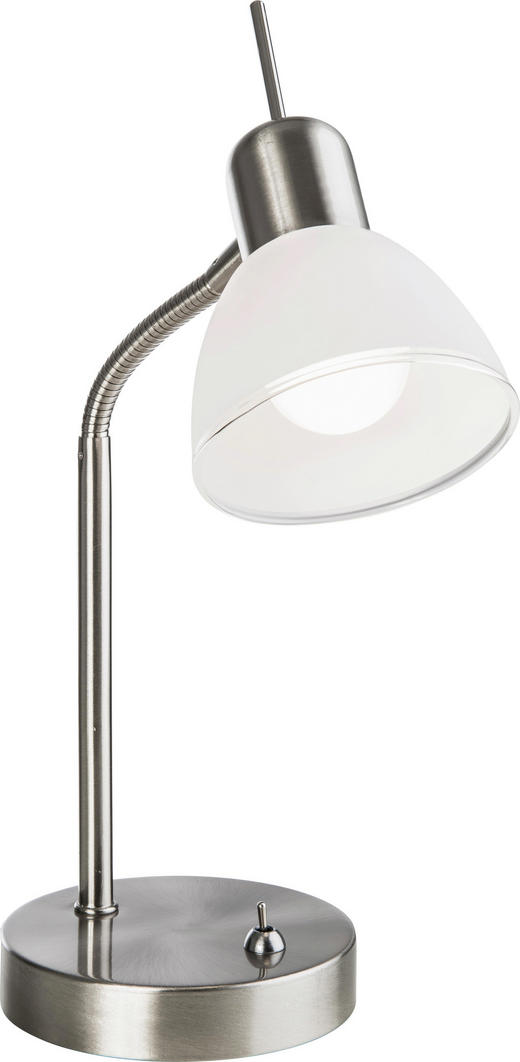 LED BORDSLAMPA - vit/nickelfärgad, Design, metall/glas (35cm) - Novel