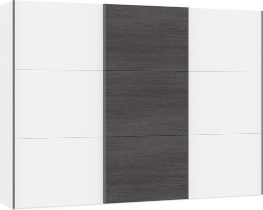 SCHWEBETÜRENSCHRANK 3-türig Anthrazit, Weiß - Anthrazit/Silberfarben, Design, Glas/Holzwerkstoff (303,1/220/65cm) - Jutzler
