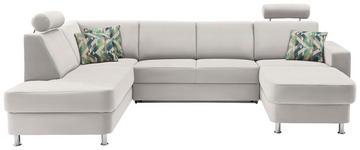 WOHNLANDSCHAFT in Textil Beige, Creme - Chromfarben/Beige, Design, Kunststoff/Textil (198/301/165cm) - Xora