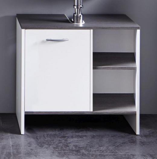 WASCHBECKENUNTERSCHRANK Grau, Weiß - Silberfarben/Weiß, Design, Holzwerkstoff/Kunststoff (60/55/28cm) - Xora